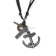 Antique Leather Cord Multiple Christianism Gold Engraved Anchor Cross Pendant Necklaces