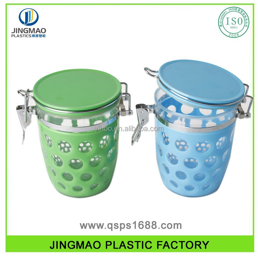 Square Shape Durable PS Plastic Canister With Clip Lid