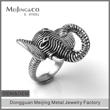 Wholesale Stainless Steel Animal Men's Indian Elephant Ring