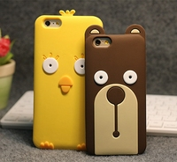 Korean style cute cartoon animals silicone cell phone case for iPhone 6 plus