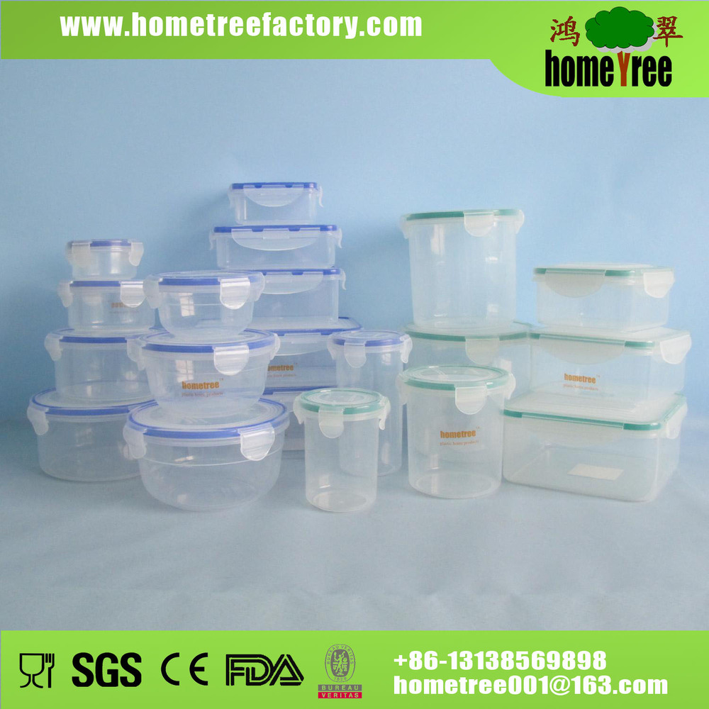 round rectangle round 24pcs airtight food lock plastic storage food container set