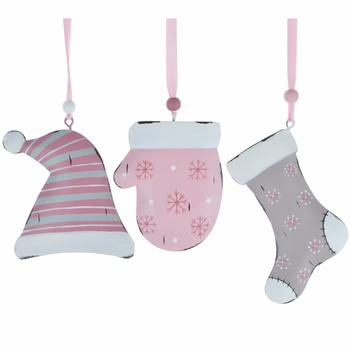 Wholesale Metal Hat Glove Sock Winter Christmas Hanging Ornament Holiday Decoration