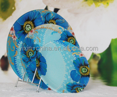 Promotional Round Flower Decal tempered glass plate, Dinnerware, Tableware