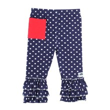Wholesale boutique girls triple ruffle pants girls polka dot leggings with pocket