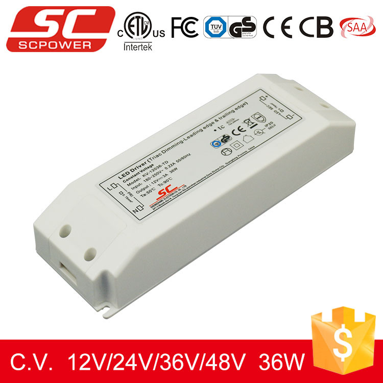 48V Triac dimmable led strip driver with plastic housing 36W