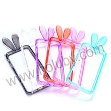 Cute 3D Design Transparent Bumper Frame Bunny Ears TPU Case for iPhone 5 5S with a Strap