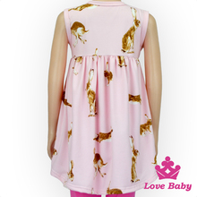 New Hot- sale children baby clothing sleeveless dress summer floral cotton Rabbit printing smoking frock designs