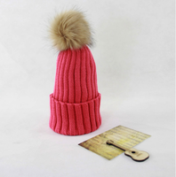 Girls Knitted Beanie Ladies Winter Hat with Fur Ball