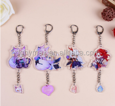 transparent printed custom cartoon acrylic keychain