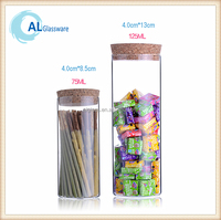 mini airtight glass tea food herb storage canister jars with cork lid