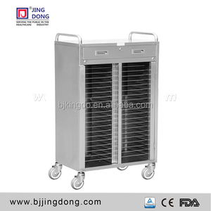 stainless steel medical patient record trolley