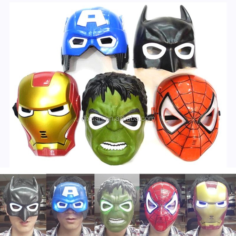High Quality LED Cosplay The Avengers Spider Man Iron Man Hulk Batman Captain America super hero masks