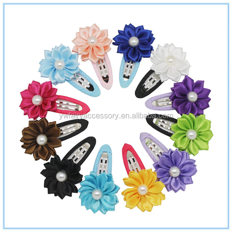 Wholesale cheap Ribbon Rose Flower Hair pins,Decorative ribbon Flower hair accessory