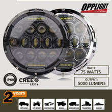 Accessories for Jeep Wrangle, Wholesale Promotion Angel Eyes 75W 7inch LED Head Light LED Headlight