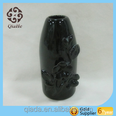 Antique On-glazed Black Ceramic Vase with Flower Carve Design