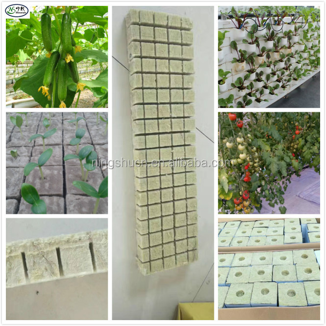 Grow Substrate Hydroponic System Density 70kg/m3 Agricultural Rockwool Grow Cubes for Vegetables