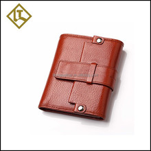 Best sell product 3 fold wallet magnet button protective man's leather wallet