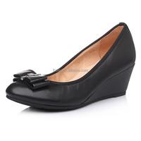 Fancy office lady black dress shoe autumn pu wedge shoes 2016 women