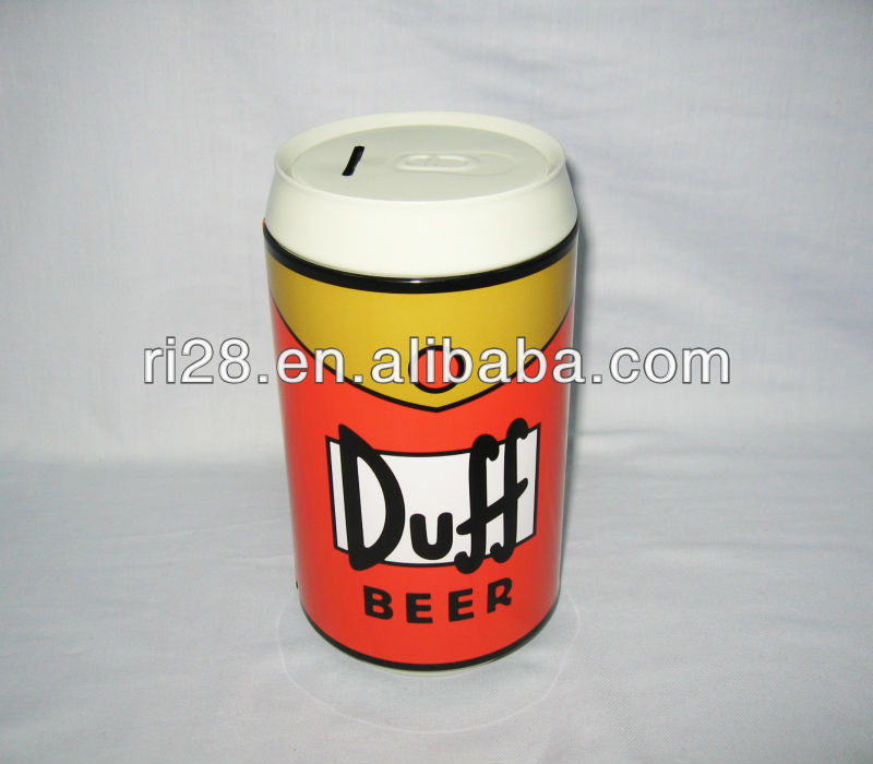 Beer can shaped coin bank