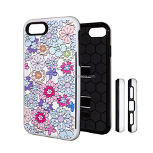 Withstand card slot hybrid cell phone case for i7 TPU and PC hybrid mobile cases for iPhone customize your phone case