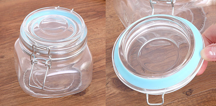 Sealed Round Glass Storage Jar Airtight Round Shape Food Container Glass Storage Jar With Metal Clip