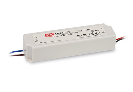 Meanwell LPV-60 Series 60W Single Output Switching Power Supply LPV-60-24 24V 2.5A IP67 Constant Voltage Design
