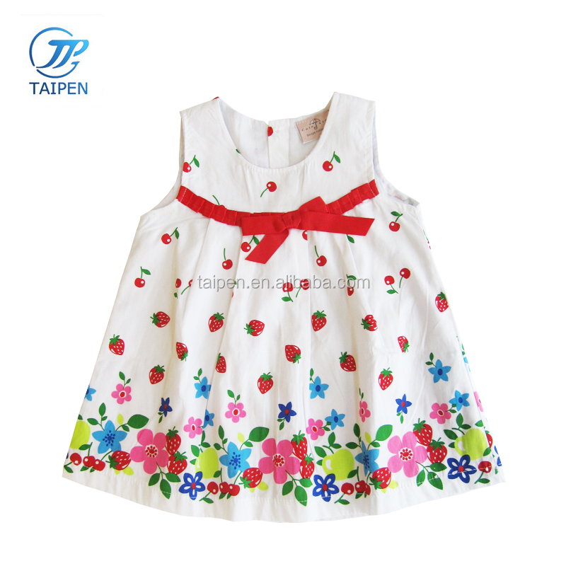 Baby Girls Smock Dress Cherry Printed Fancy Frock Design For Baby Girl With Bowtie Kids Casual Dress