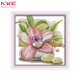 NKF Pink daffodil flower pattern aida fabric 3d cross stitch kit