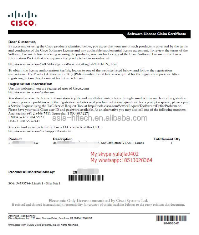Cisco new original L-ASA-SSL-25= ASA 5500 SSL VPN 25 Premium User License