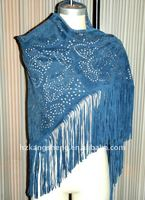 2013 Laides genuine soft suede leather shawls with metal studs effect in blue color and with laser cut flower effect