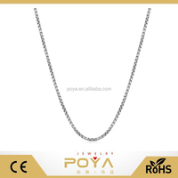 POYA Jewelry Sterling Silver 1mm Round Box Chain (white or rose gold)