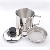 stainless steel oil pot with filtering strainer