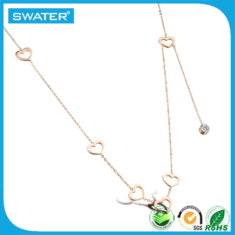 Wholesale Women Girl Jewelry Rose Gold Small Crystal Necklace Chain