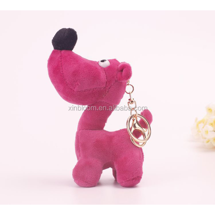lovely cartoon animal 15cm plush big head dog pendant toy doll with keyring