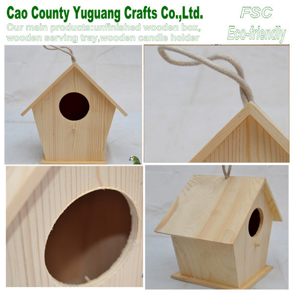 small wood crafts bird house,wooden ornaments,wooden bird craft