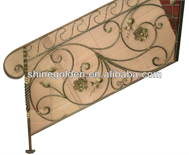 The golden and generous wrought iron handrail design