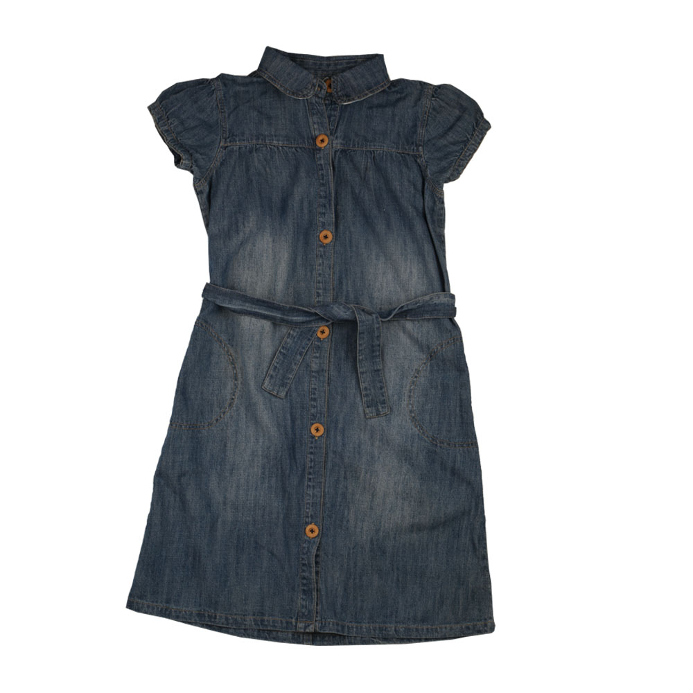 Baby Girls Denim Short Sleeve Dress Long Style Design Summer Wear Clothing for Girls