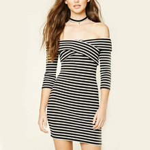 guangzhou clothing supplier latex korean style off shoulder striped mini dress