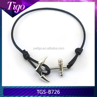 Cheap black knot wax string bracelet with anchor connection