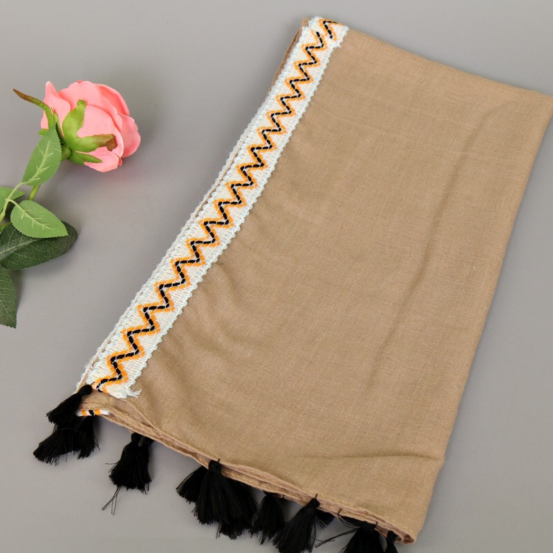 Ladies Fashion Colourful Border Soft Plain Colour Spring Summer Autumn Wrap Scarf Women Hijab