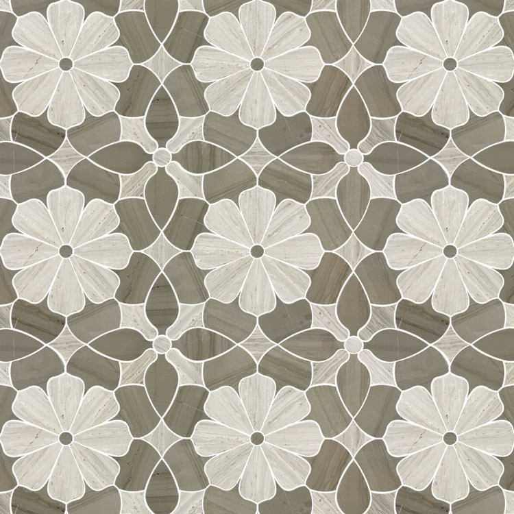 Flower design White <strong>oak</strong> wooden Gray marble waterjet mosaic