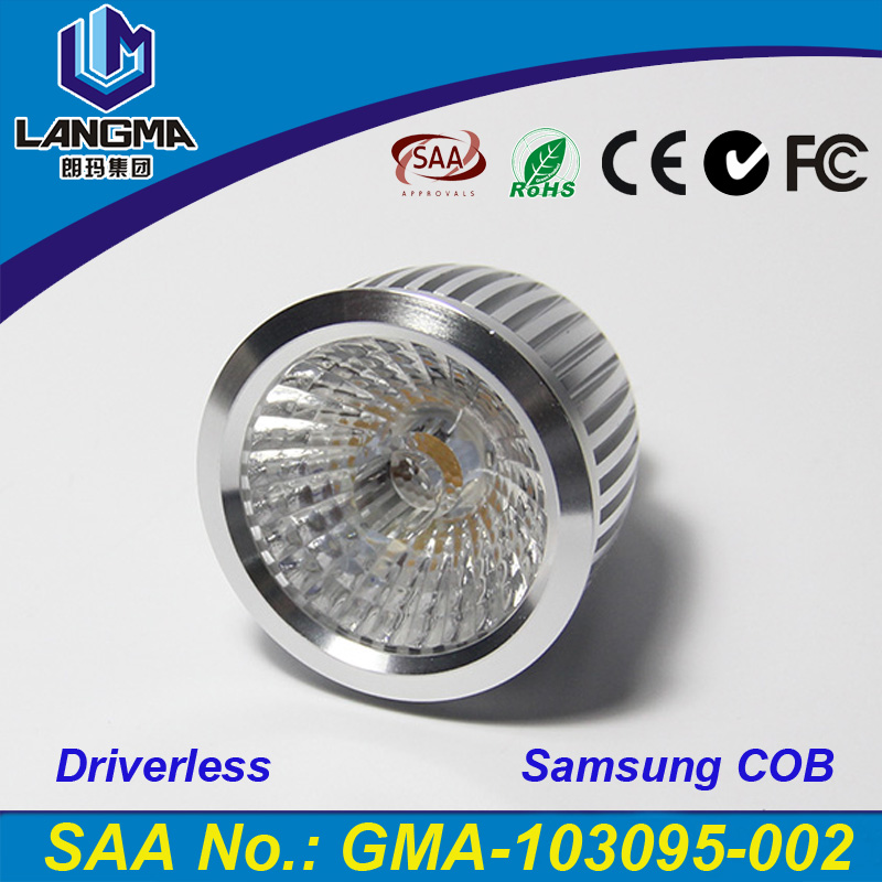 Langma High Bright 6w Samsung AC COB bombilla LED GU10 Cool White/Warm White AC85-265V lamp Lighting