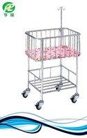 Stainless steel hospital baby bed simple hospital new born bed for sale
