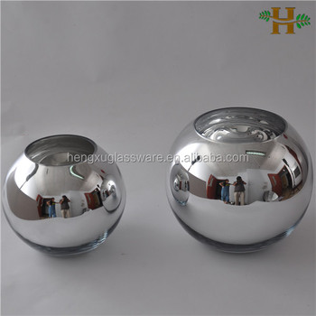 silver round ball shape glass vase electroplated glass ball vase buy electroplated glass ball. Black Bedroom Furniture Sets. Home Design Ideas