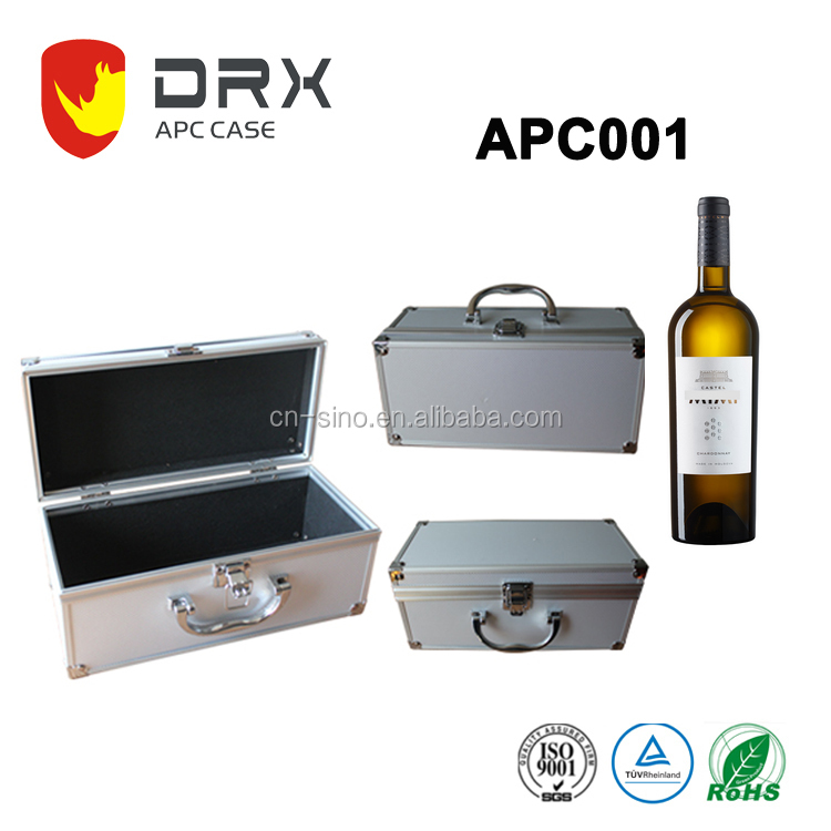 Wholesale portable aluminum case, wine glasses carrying case for gift