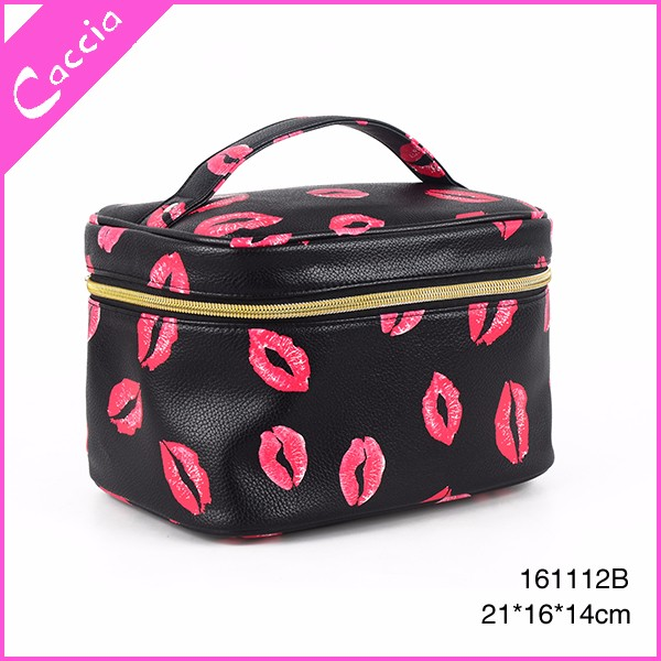 plain travel cosmetic case printing modella cosmetic bag lip shaped toiletry bag