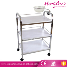 New coming 3-level stainless metal and wood trolley spa beauty salon cart with bowl