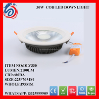 High quality & high luminous led cob downlight -30w - light color 3000K-7000K - 50000 Hr worklife