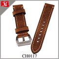 Wholesale 22mm Genuine Leather Watch Strap Wristwatch Band Durable Watch Strap with Stainless Silver-coloured Buckle