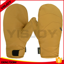 Wind-resistant yellow leather skiing gloves children's snow ski for cycling